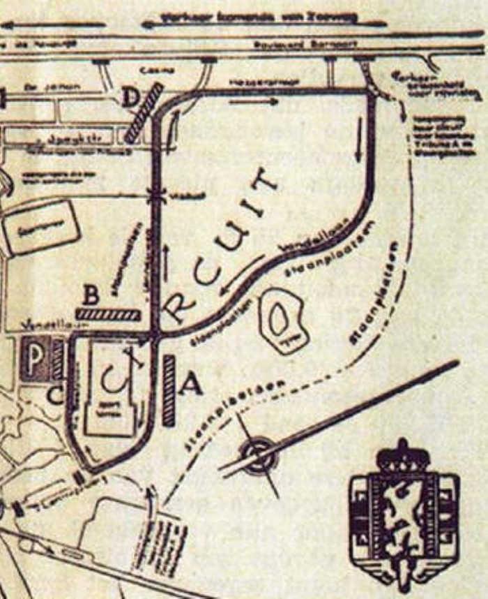Kaartje van het stratencircuit van Zandvoort