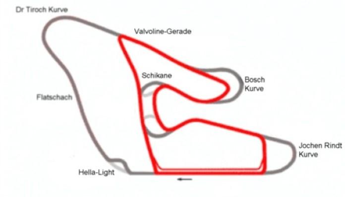 Österreichring (Red Bull Ring) kaartje - Grijs: Österreichring - Rood: Red Bull Ring